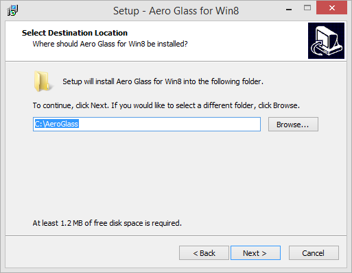 Aero Glass for Windows 8 Destination Location