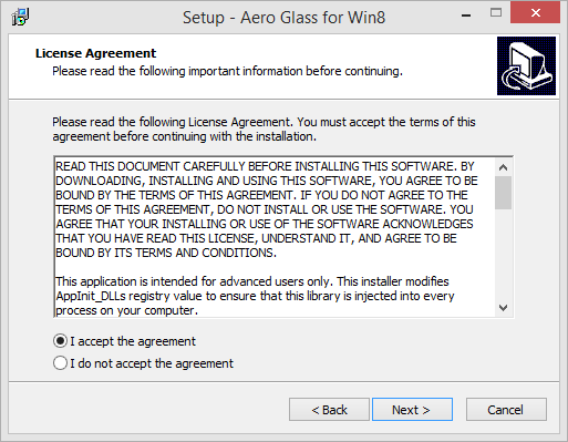 Aero glass for Windows 8 setup terms