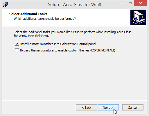 Aero Glass for Windows 8 additional tasks