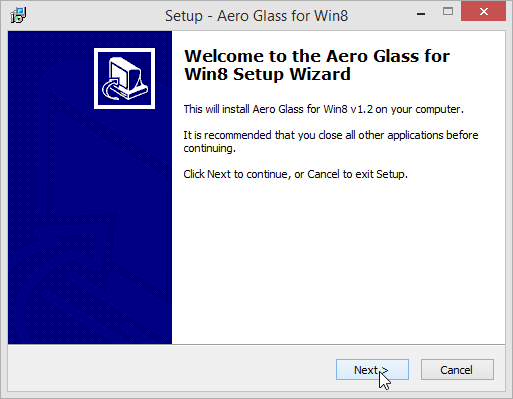 Aero Glass Windows 8 Setup Wizard