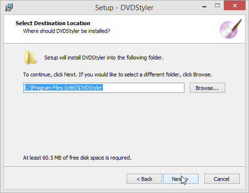 DVDStyler Destination Location