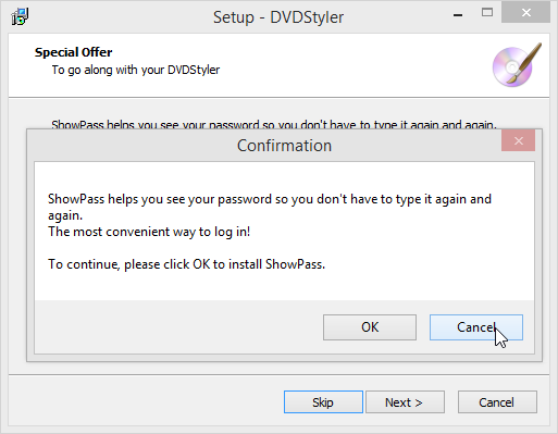 DVDStyler Setup Confirmation Showpass