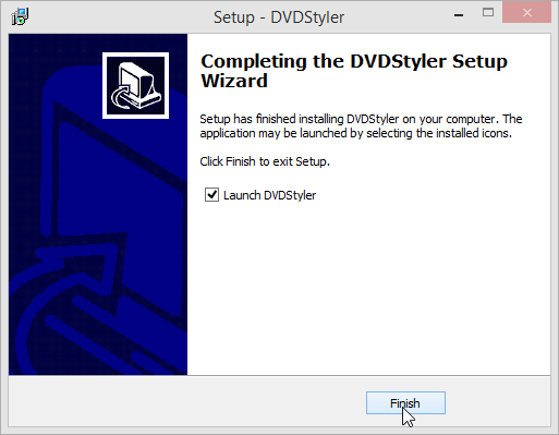DVDStyler Setup Wizard launch DVDStyler
