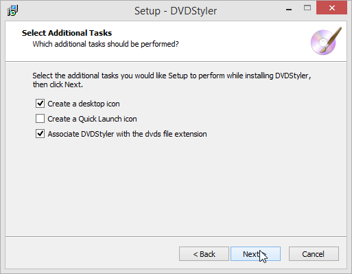 DVDStyler select additional tasks