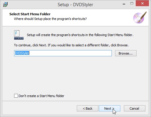 DVDStyler Start Menu