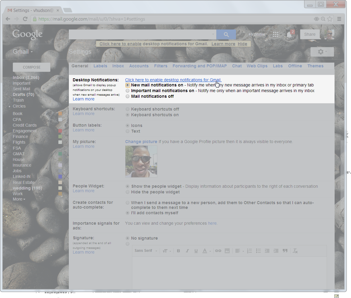 Desktop Notifications with Gmail