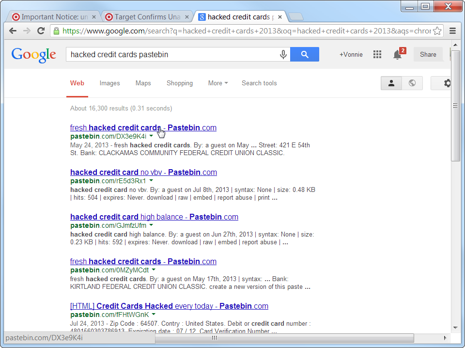Google search for hacked credit cards pastebin