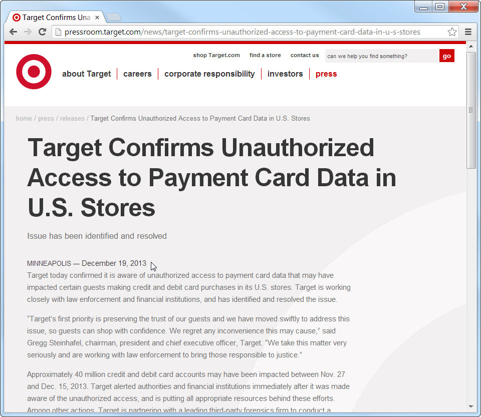 Target confirms unauthorized access to payment card data