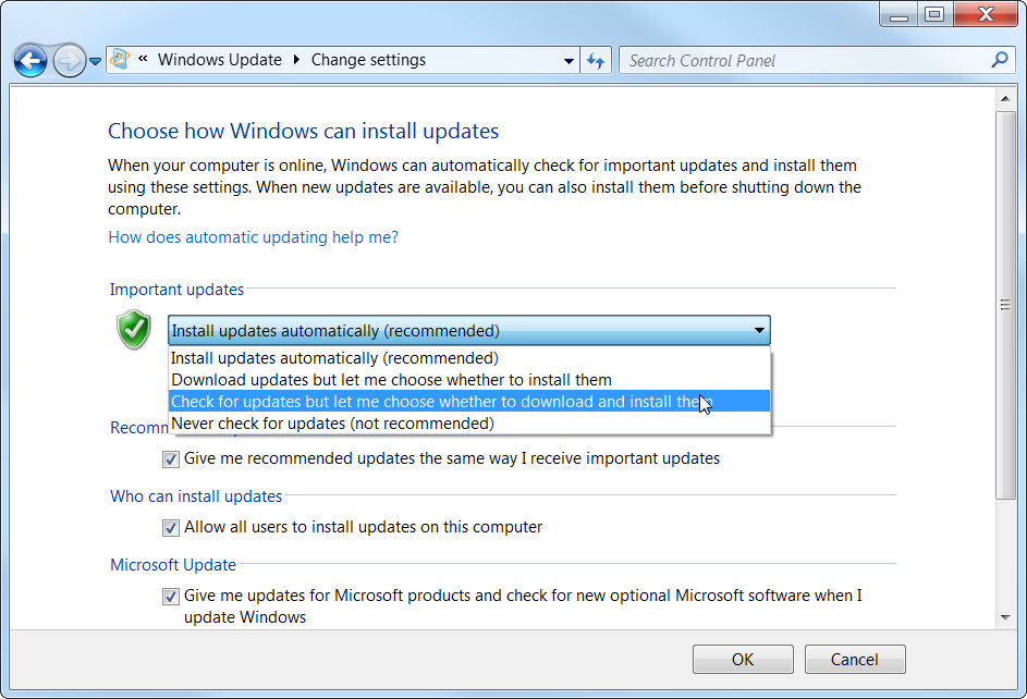Windows 7 Choose whether to download and install updates