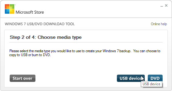 Windows 7 USB download tool choose media type