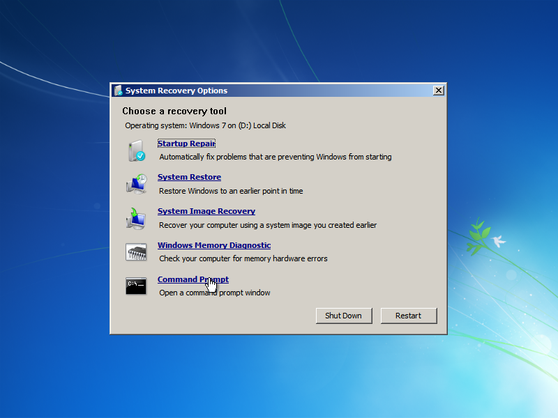 Windows 7 System Recovery Options Command Prompt