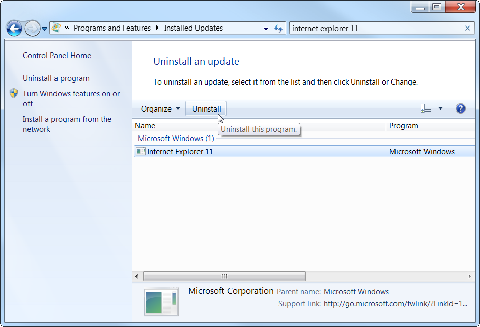 Windows 7 Installed Updates Internet Explorer 11