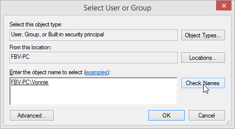 Windows 8.1 Select Users or Groups