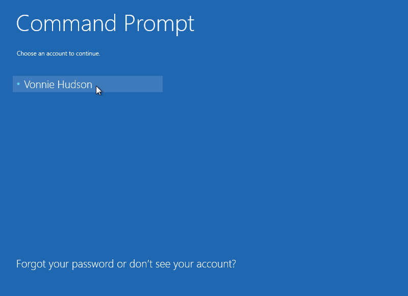 Windows 8 Command Prompt Account