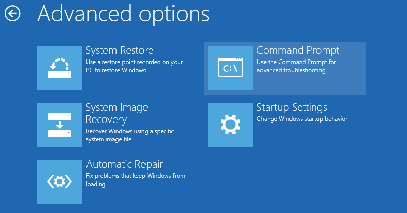 Windows 8 Advanced options Command Prompt