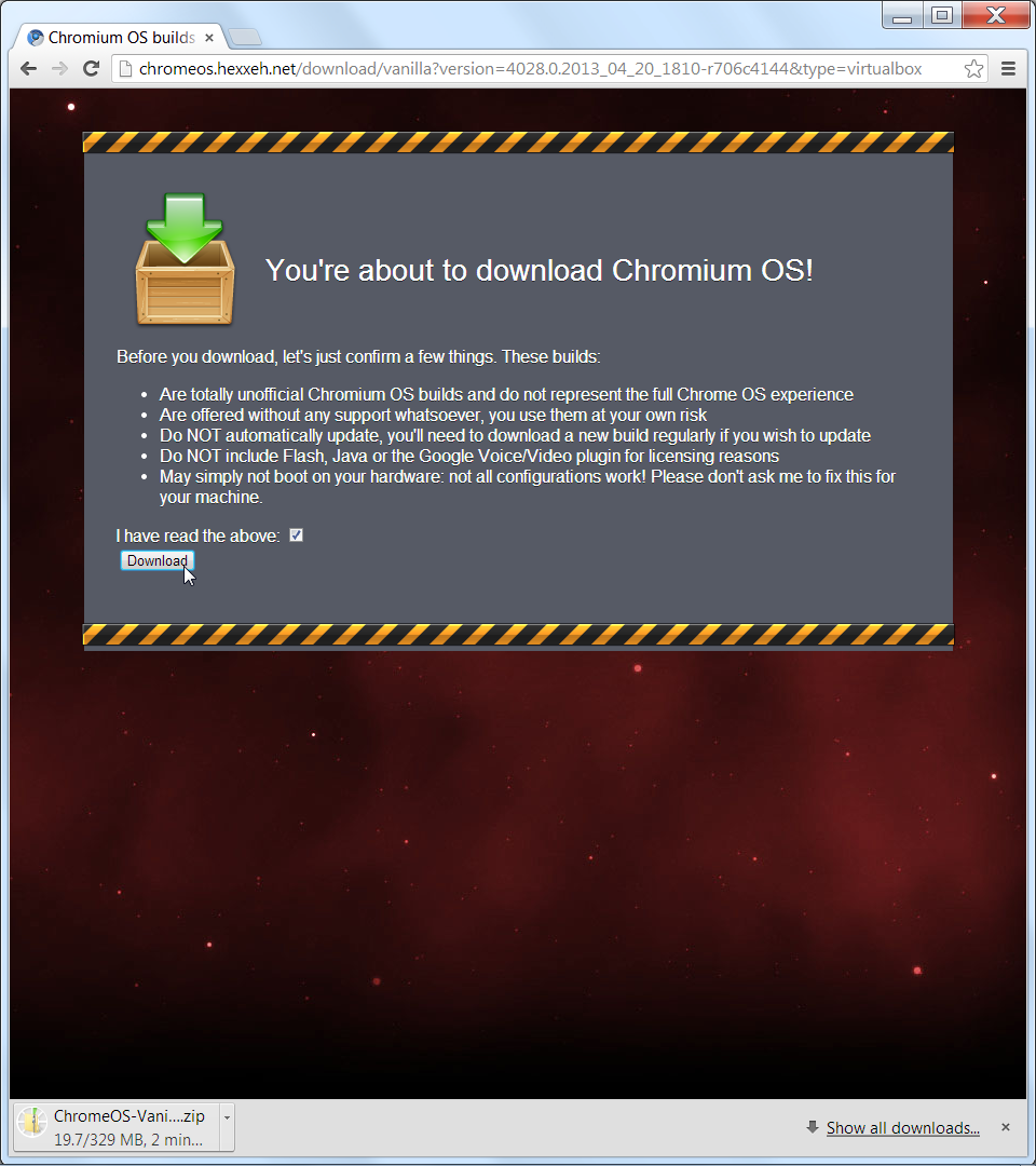 You're about to download Chromium OS