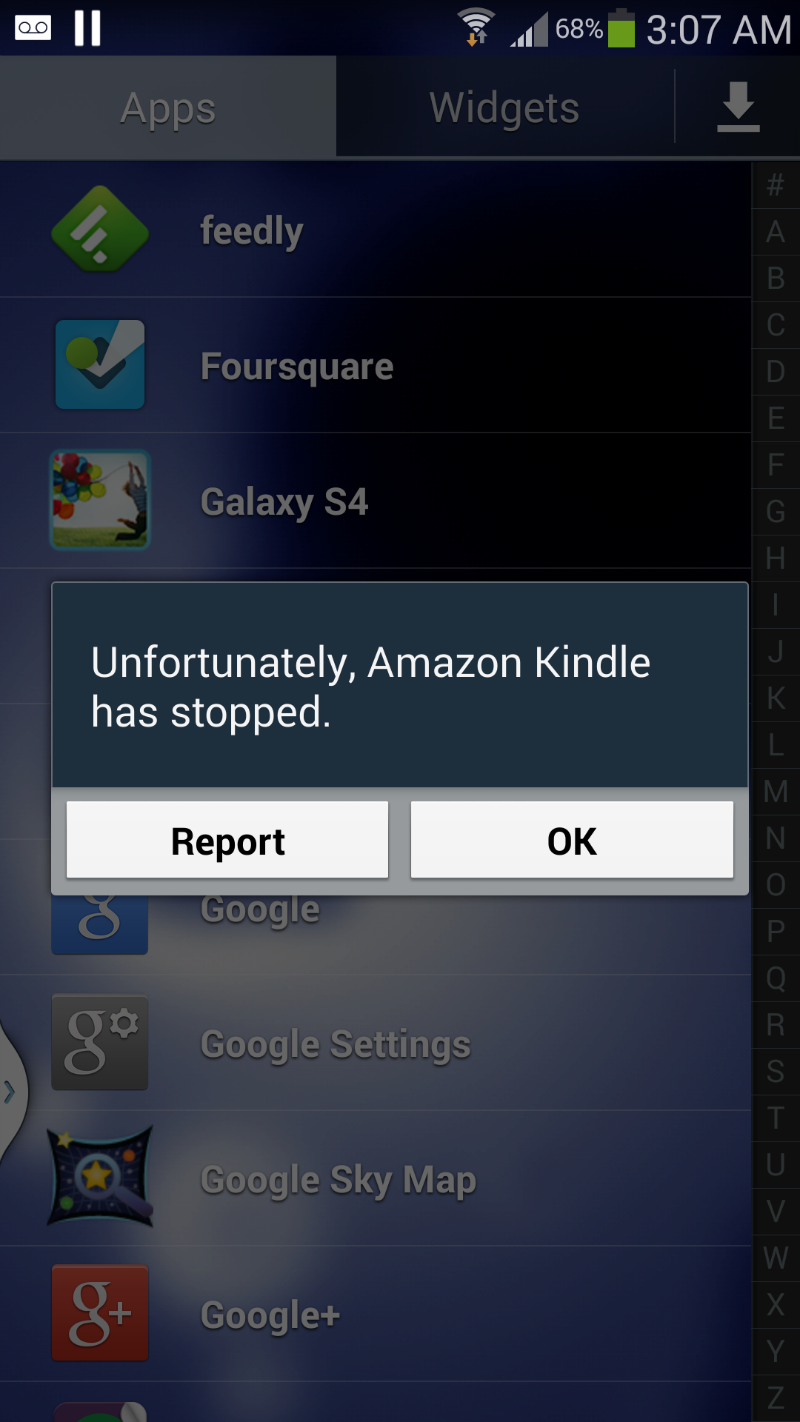 Galaxy S4 Unfortunately your app has stopped