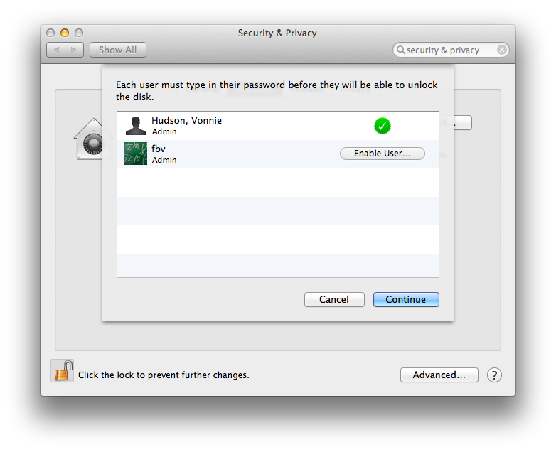 Mac OS X Mavericks Manage FileVault 2 accounts