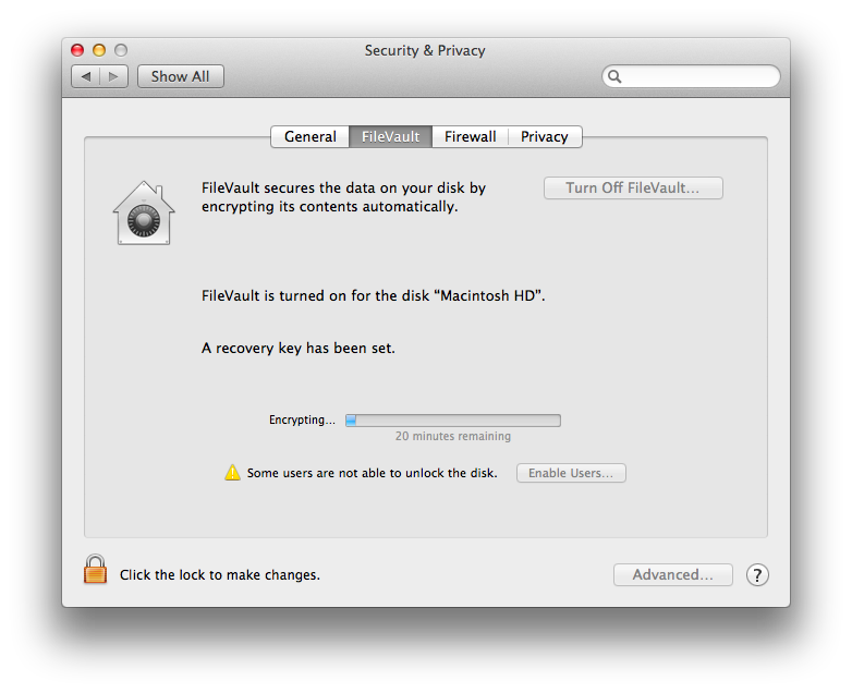 Mac OS X Mavericks FileVault 2 Encrypting