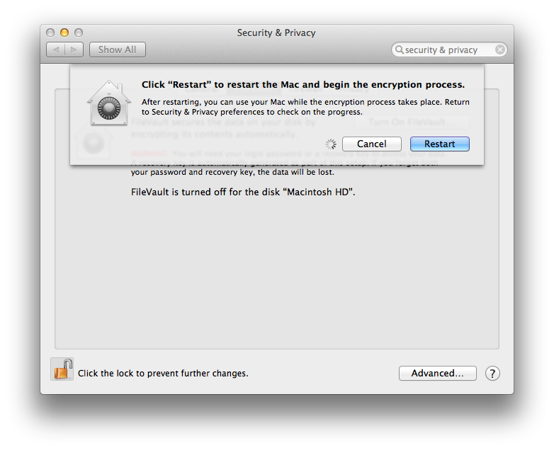 Mac OS X Mavericks FileVault 2 Restart