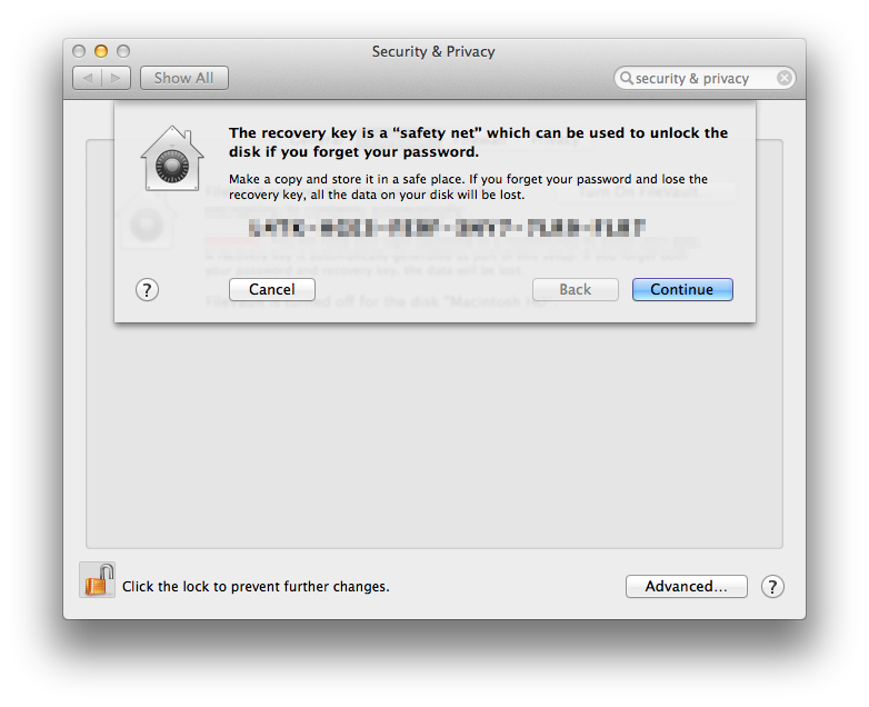 Mac OS X Mavericks FileVault 2 Recovery Key