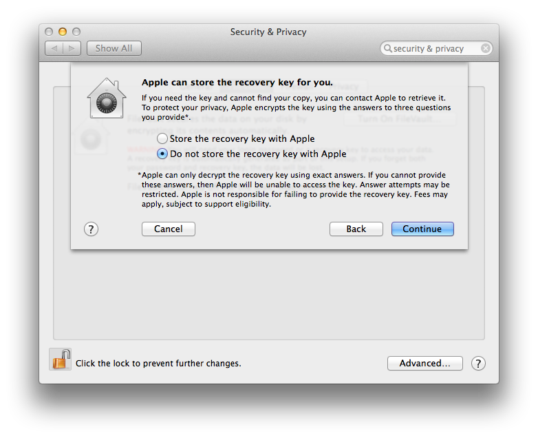 Mac OS X Mavericks FileVault 2 Store Recovery Key