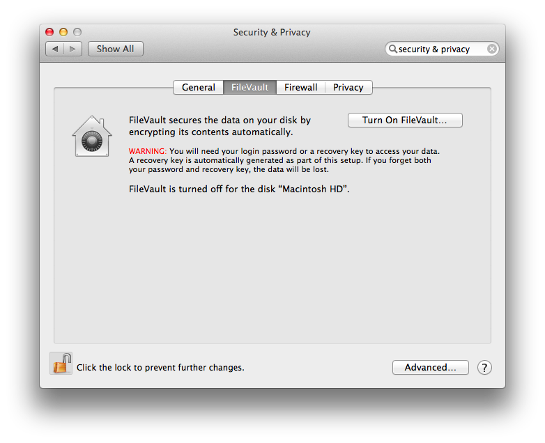 Mac OS X Mavericks Turn on Filevault 2