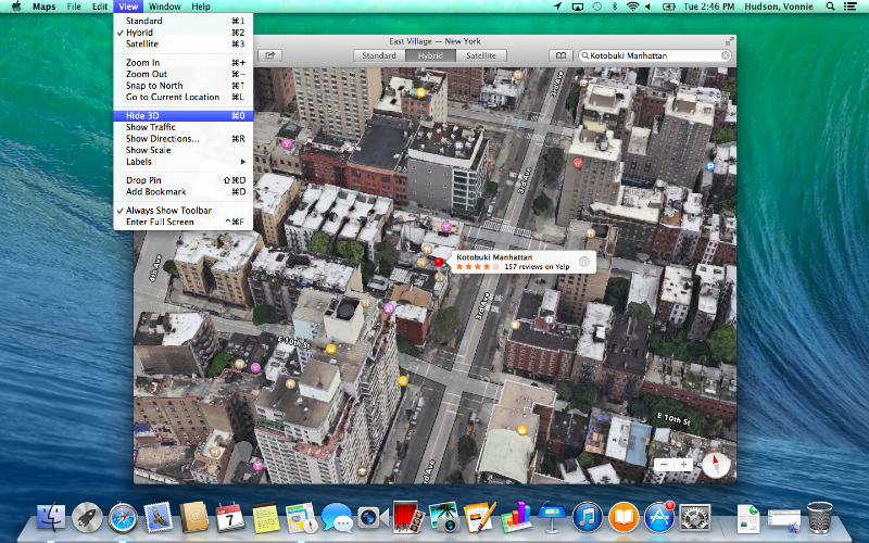Mac OS X Mavericks Maps Flyover