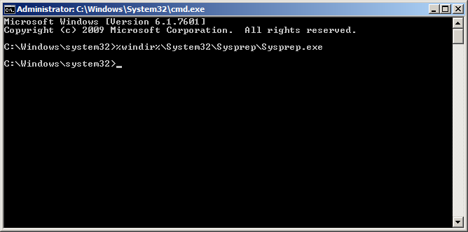 Launch Sysprep from the command prompt
