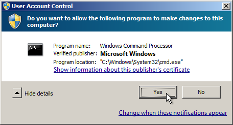 User Account Control Command Prompt