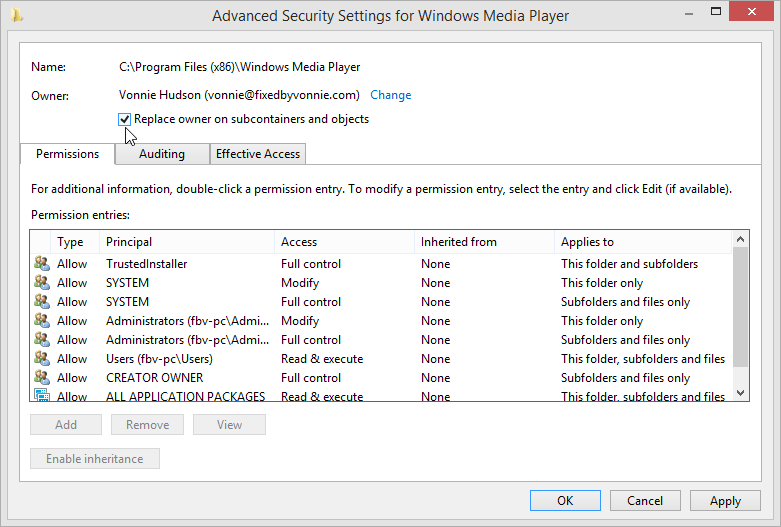 Windows 8.1 Advanced Security Settings Replace owner on subcontainers and objects