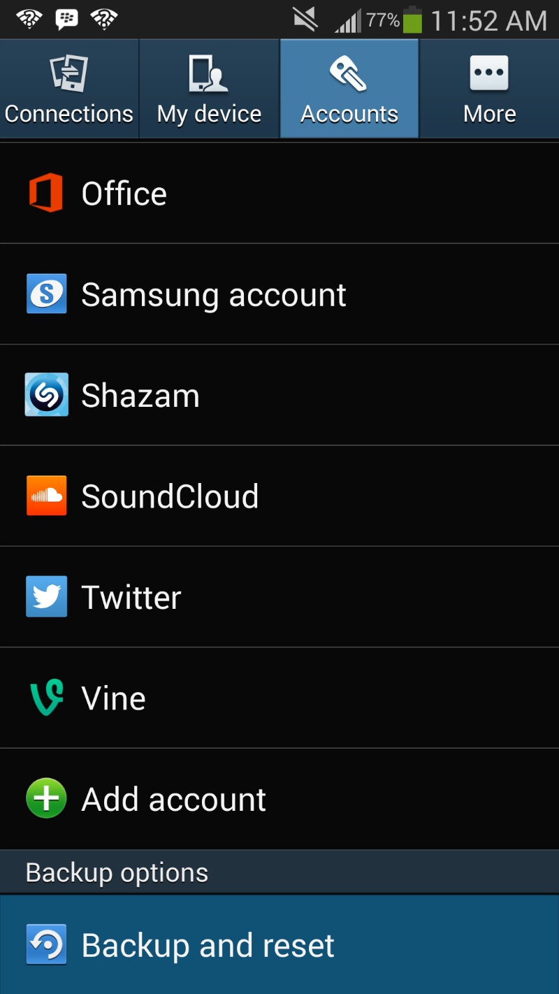 Backup and Reset Galaxy S4