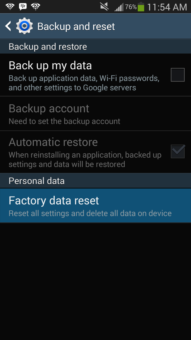Galaxy S4 Factory Data Reset