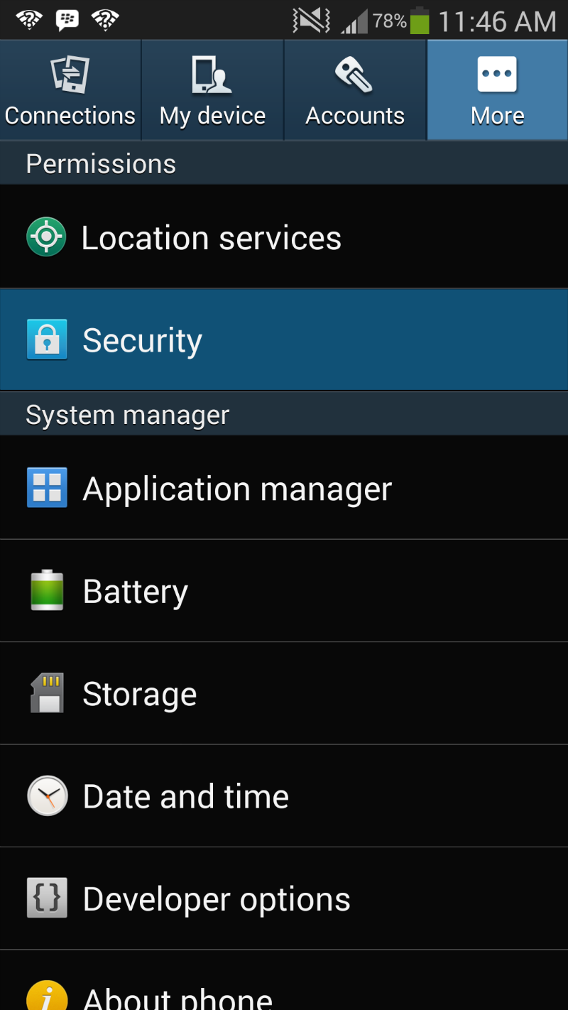 Galaxy S4 Security Tab