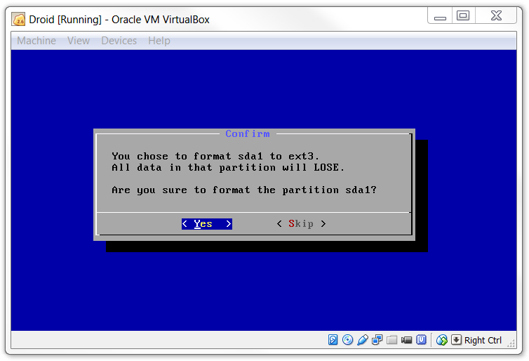 Virtualbox confirm format from sda1 to ext3