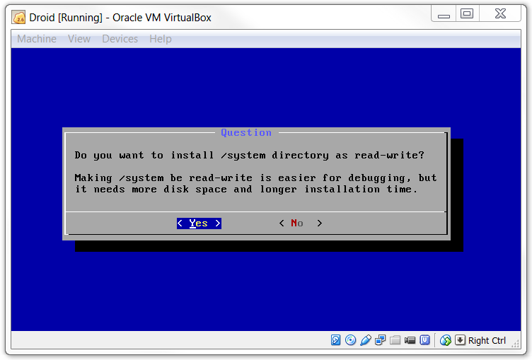 Install /system directory as Read Write in Android KitKat Virtualbox