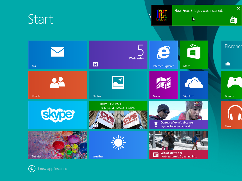 Windows 8.1 Update App Installation Notification