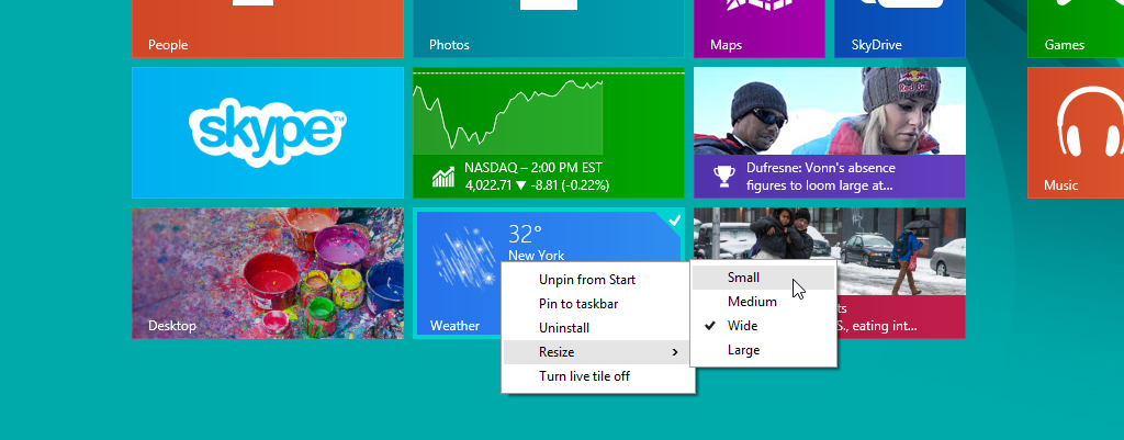 Windows 8.1 Update 1 Live Tiles Context Menu