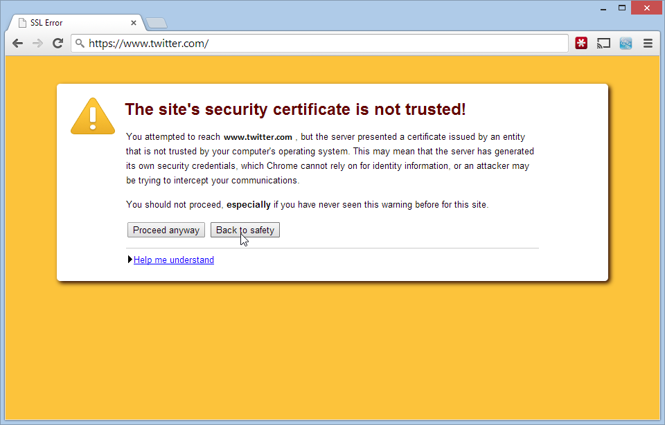 Image result for ssl certificate missing chrome