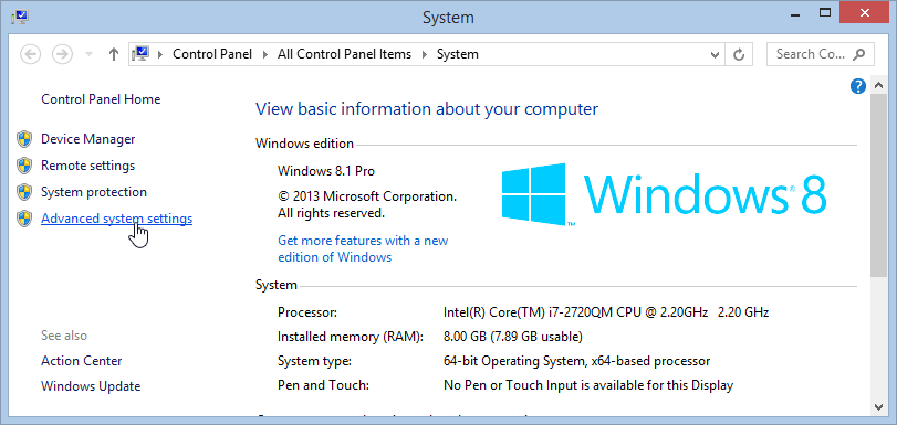 View advanced system settings in Windows
