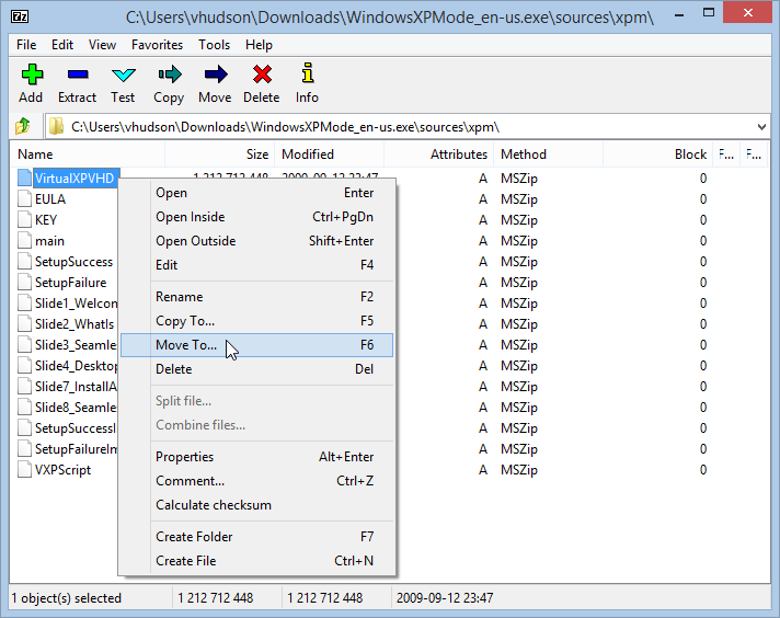 Windows 8.1 Extract VirtualXPVHD for Windows XP Virtualbox