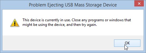 Problem ejecting USB mass storage device Windows 8.1