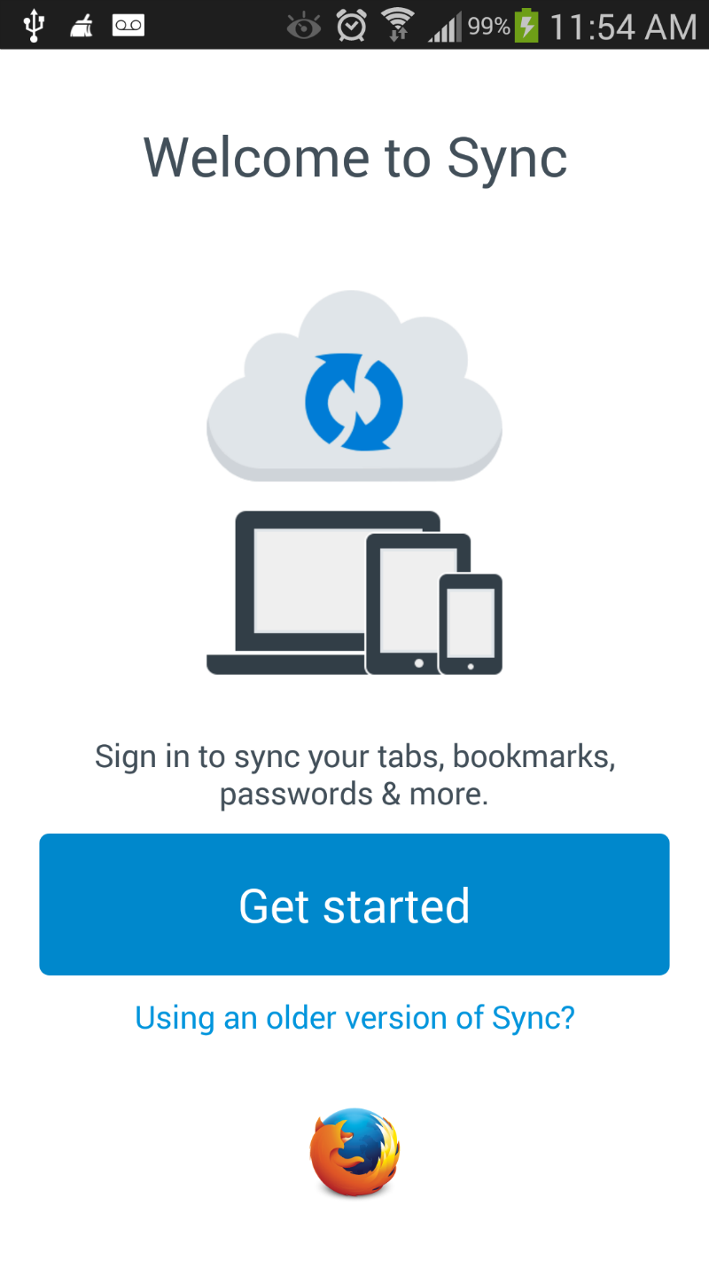Tap Getting Started in Firefox for Android