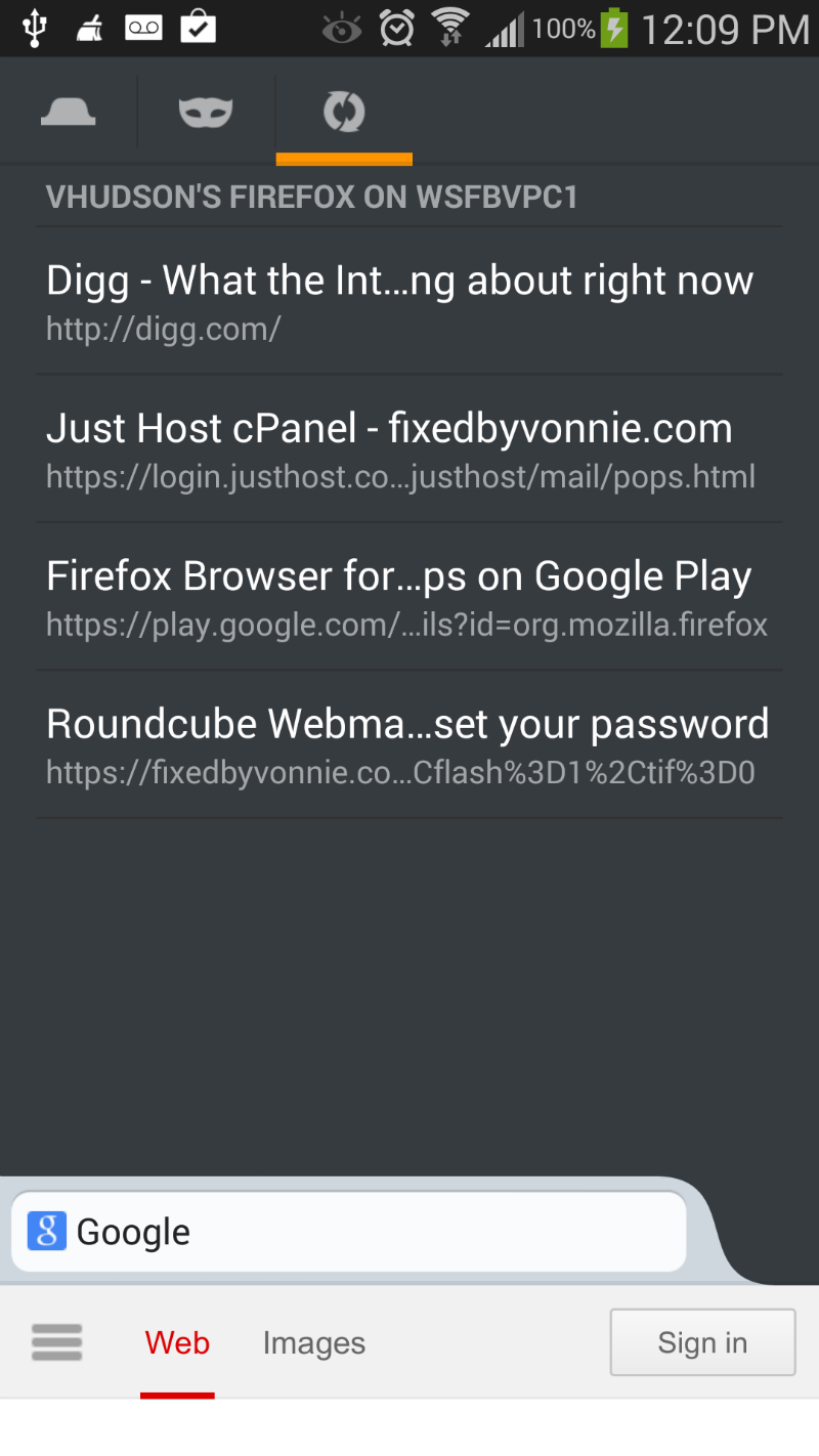 Firefox for Android view synced tabs