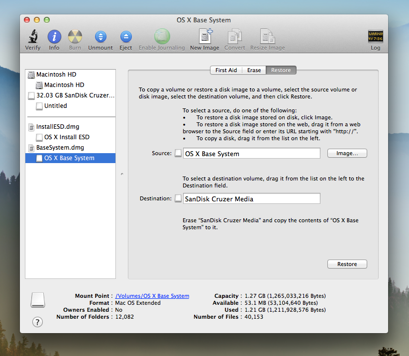 Mac OS X Mavericks Disk Utility Restore Base System