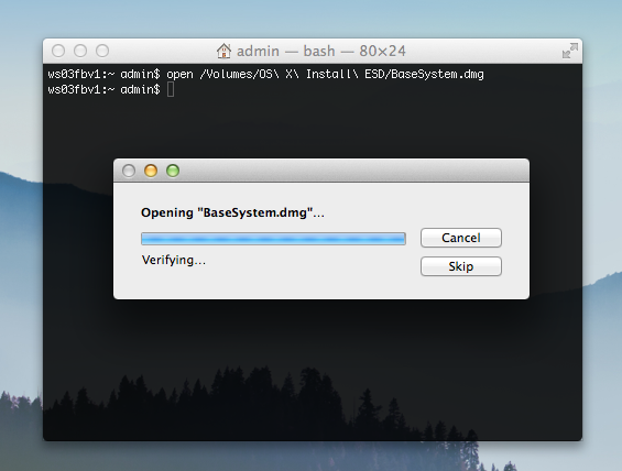 Mac OS X Mavericks Opening Base System