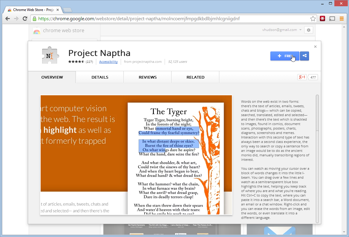 Project Naptha Chrome Extension