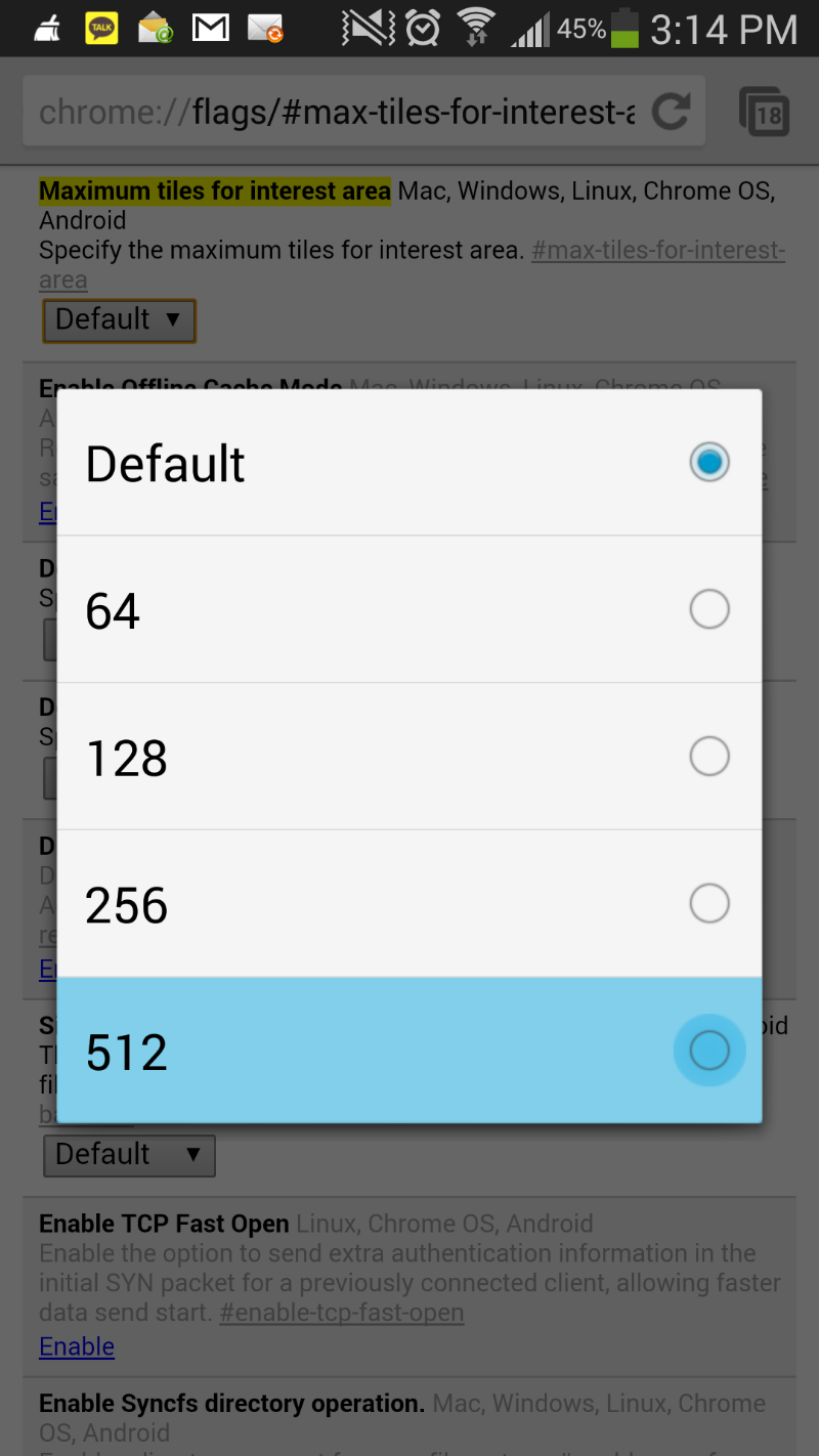 Set maximum tile values in Chrome for Galaxy S4