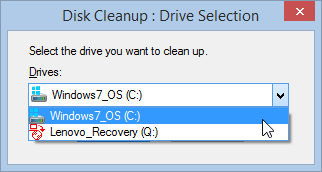 Windows 8.1 Disk Cleanup Drive Selection