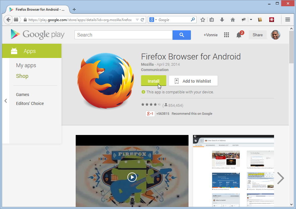 Install Firefox on your phone from your Desktop browser